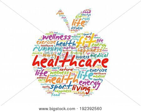 Health Care Apple Word Cloud Collage