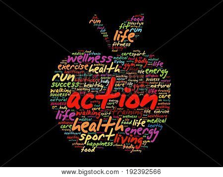 Action Apple Word Cloud Collage