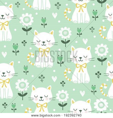 Seamless pattern with cute cats. Vector illustration with white kittens.