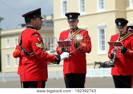 Sandhurst, Uk - June 18 2017: Conductor And Woodwind Players Of The Military Band Of The Corps Of Ro