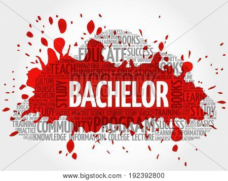 Bachelor word cloud collage , education concept