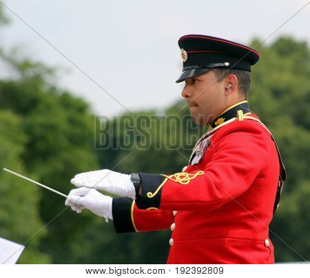 Sandhurst, Uk - June 18 2017: Conductor Of The Military Band Of The Corps Of Royal Engineers