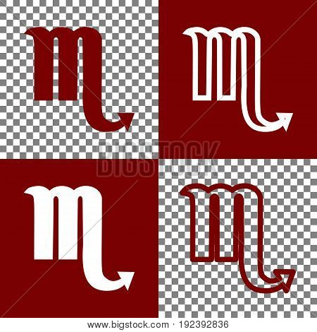 Scorpio sign illustration. Vector. Bordo and white icons and line icons on chess board with transparent background.