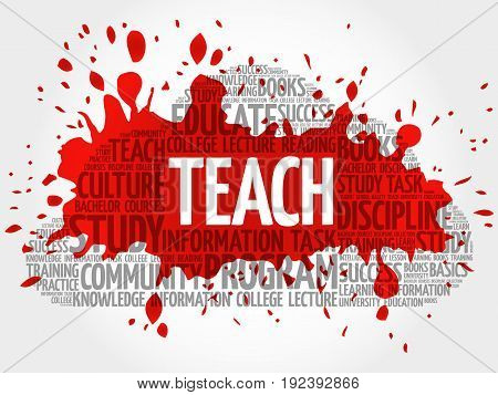 TEACH word cloud collage , education concept