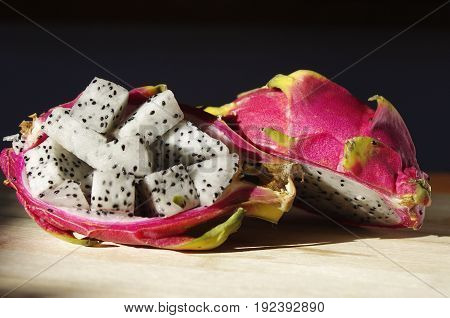 inside of dragon fruit pieces sitting in shell