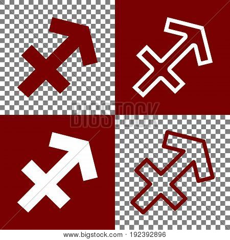 Sagittarius sign illustration. Vector. Bordo and white icons and line icons on chess board with transparent background.
