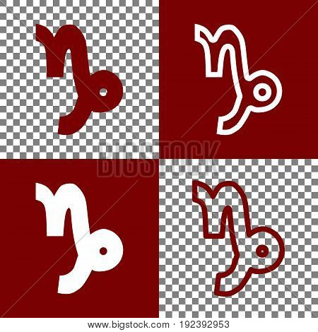 Capricorn sign illustration. Vector. Bordo and white icons and line icons on chess board with transparent background.
