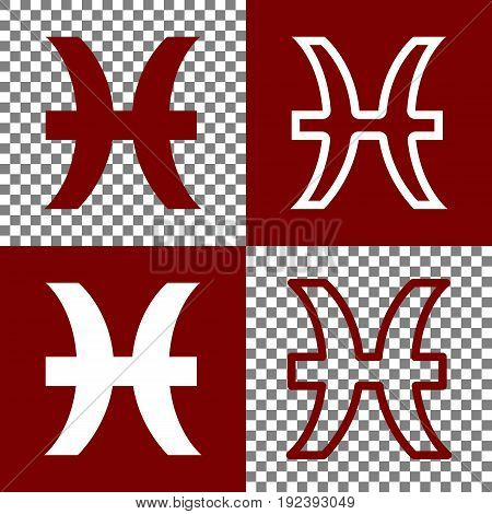 Pisces sign illustration. Vector. Bordo and white icons and line icons on chess board with transparent background.