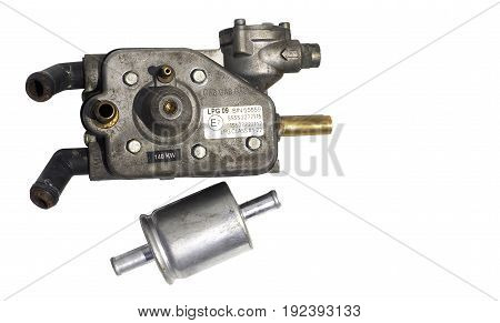 Regulator injetor LPG for car Photo isolate on white background and clipping paths.