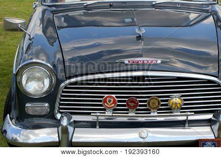 Sandhurst, Uk - June 18 2017: Humber Hawk Series Ii Bonnet And Radiator Grille