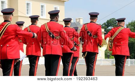 Sandhurst, Uk - June 18 2017: Military Marching Band Of The Corps Of Royal Engineers Leaving The Par