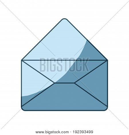 blue shading silhouette of envelope mail opened in closeup vector illustration