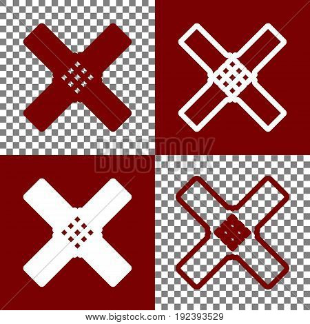 Aid sticker sign. Vector. Bordo and white icons and line icons on chess board with transparent background.