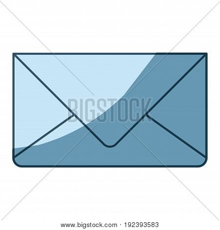blue shading silhouette of envelope mail in closeup vector illustration