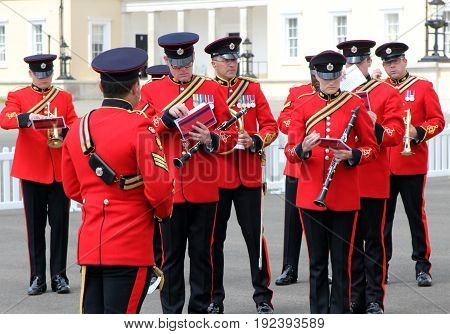 Sandhurst, Uk - June 18 2017: Military Marching Band Of The Corps Of Royal Engineers Preparing To Pl