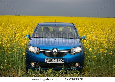 Gomel, Belarus - May 24, 2017: The Blue Car Is Parked On The Rapeseed Field.
