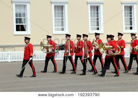 Sandhurst, Uk - June 18 2017: Militruy Marching Band Of The Corps Of Royal Engineers Entering A Para