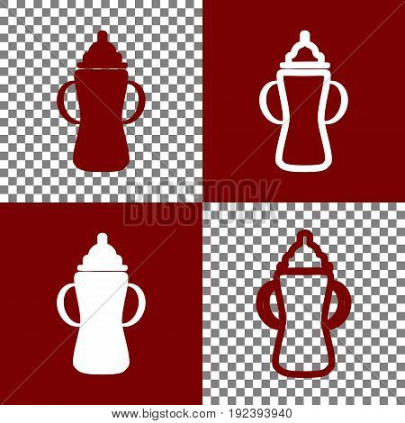 Baby bottle sign. Vector. Bordo and white icons and line icons on chess board with transparent background.