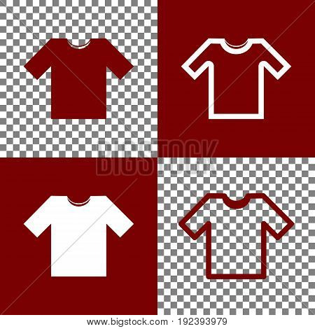 T-shirt sign illustration. Vector. Bordo and white icons and line icons on chess board with transparent background.