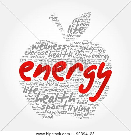 ENERGY apple word cloud collage health concept background
