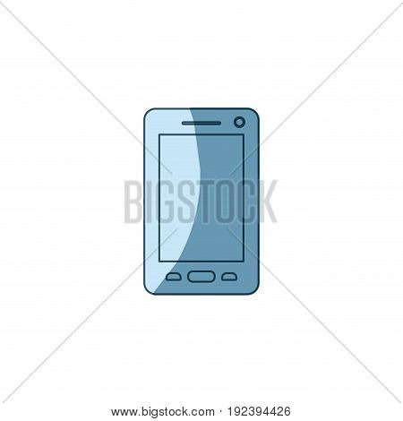 blue shading silhouette of smartphone vector illustration