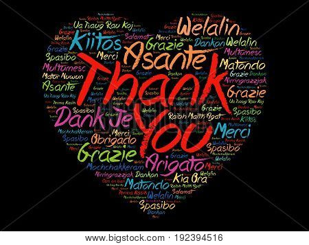 Thank You Love Heart Word Cloud in different languages concept background