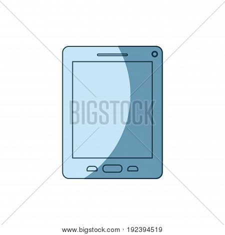 blue shading silhouette of tablet device vector illustration