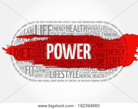 POWER word cloud collage fitness health concept