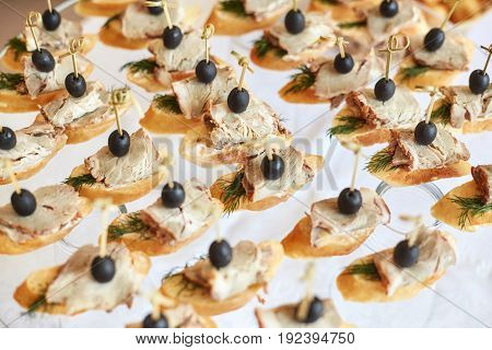 Catering of canape with olives baguette and meat on white background