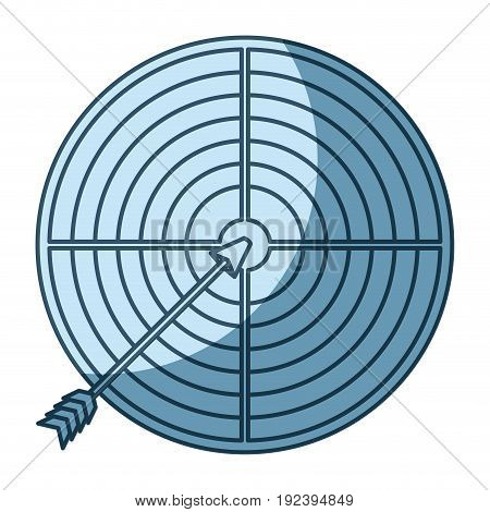 blue shading silhouette of arrow on target vector illustration