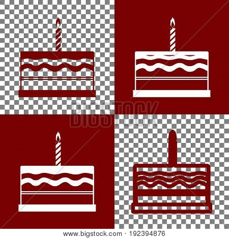 Birthday cake sign. Vector. Bordo and white icons and line icons on chess board with transparent background.