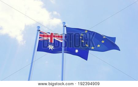 Australia and European Union, two flags waving against blue sky. 3d illustration