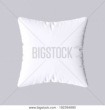 White square pillow isolated on gray background. 3d illustration