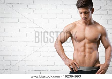 Man hands handsome muscle sport white background