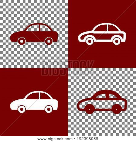 Car sign illustration. Vector. Bordo and white icons and line icons on chess board with transparent background.