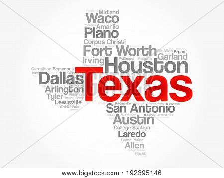 List Of Cities In Texas Usa State Word Cloud
