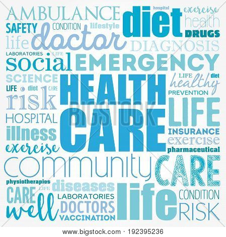 Health care word cloud collage, health concept