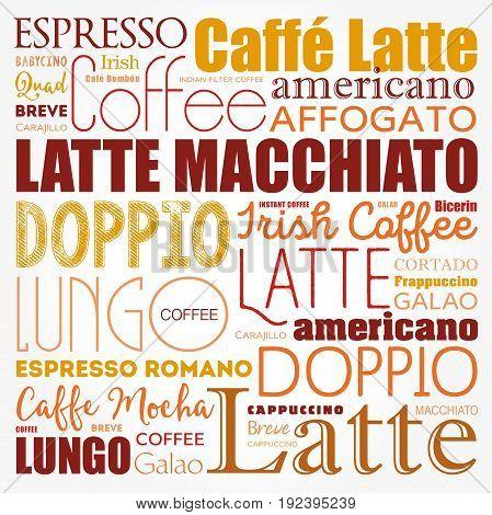 List Of Coffee Drinks Words Cloud