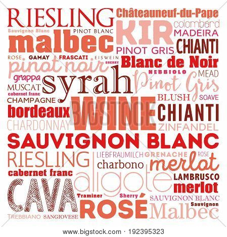 Wine Varietals Types Word Cloud