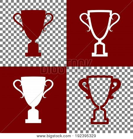 Champions Cup sign. Vector. Bordo and white icons and line icons on chess board with transparent background.