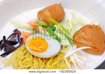 Japanese Noodles In White Pork Bones Soup