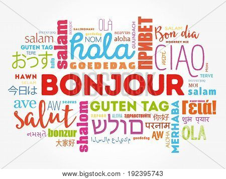 Bonjour (hello Greeting In French) Word Cloud
