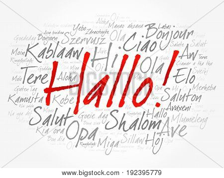 Hallo (hello Greeting In German) Word Cloud