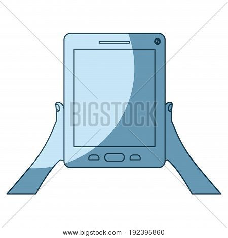 blue shading silhouette of hands holding tablet device vector illustration