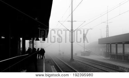 a foggy morning at the train station of Boeblingen