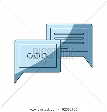blue shading silhouette of speech dialogues vector illustration