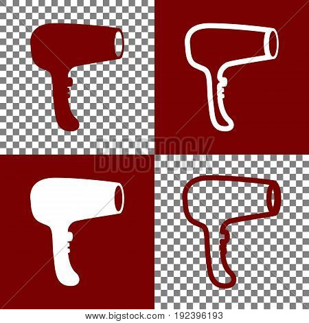 Hair Dryer sign. Vector. Bordo and white icons and line icons on chess board with transparent background.