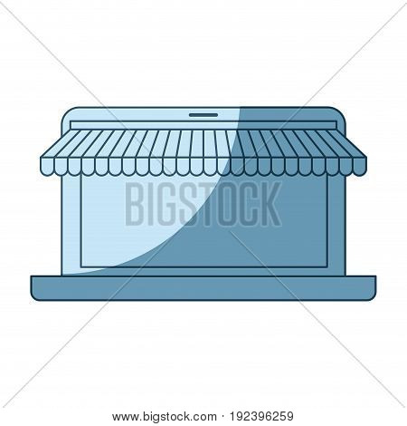 blue shading silhouette of laptop computer online store vector illustration