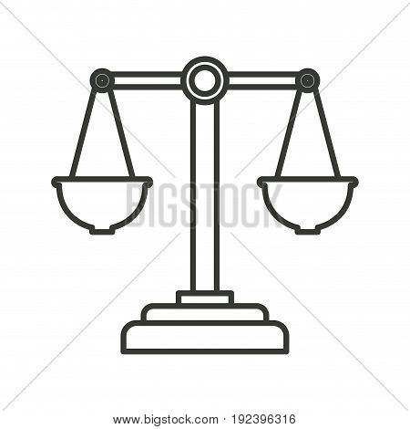 monochrome silhouette of justice scales vector illustration