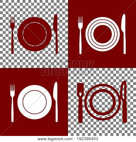 Fork, Knife and Plate sign. Vector. Bordo and white icons and line icons on chess board with transparent background.